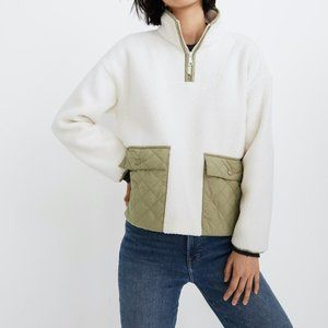 Madewell (Re)sourced Fleece Quilted Pocket Popover Jacket Sz S